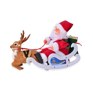 Singing Electric Santa Claus and Deer Toys (6.29x13.38 in) (3xAA Batteries Not Included)