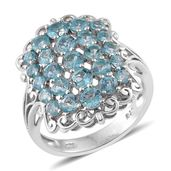 Madagascar Paraiba Apatite Platinum Over Sterling Silver Ring (Size 7.0) TGW 3.09 cts.