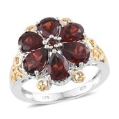 Mozambique Garnet 14K YG and Platinum Over Sterling Silver Floral Ring (Size 10.0) TGW 5.58 cts.