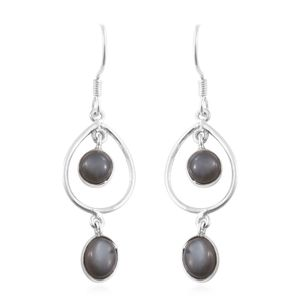 Sri Lankan Titanium Moonstone Sterling Silver Earrings TGW 5.96 cts.