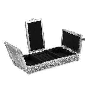 Three Door Embossed Oxidized Jewelry Box with Black Velvet (Inner)