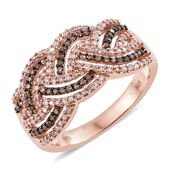 Natural Pink and Champagne Diamond Black Rhodium & 14K RG Over Sterling Silver Criss Cross Ring (Size 8.0) TDiaWt 0.74 cts, TGW 0.74 cts.