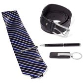 Men's Boxed Gift Set (Blue Ink Pen, Black Keychain, Multi Color Stripe Pattern Tie with Clip, and Black Faux Leather Men's Belt (48in)