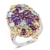 Multi Gemstone 14K YG and Platinum Over Sterling Silver Cluster Ring (Size 6.0) TGW 7.45 cts.