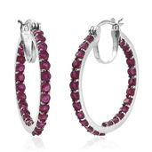 Niassa Ruby Platinum Over Sterling Silver Inside Out Hoop Earrings TGW 5.90 cts.