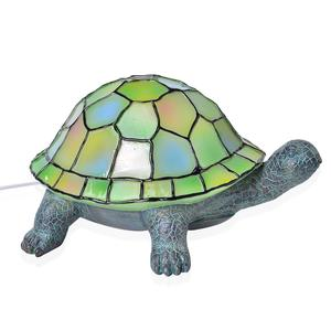 Doorbuster Hand Painted Multi Color Tiffany Style Turtle Night Lamp with Chroma Base Stand (8x5x7.5 in)