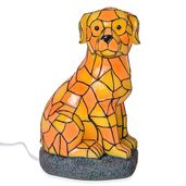 Multi Color Dog Night Lamp with wooden Base Stand (6.29x4.72x9.44 in)