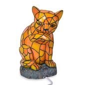 Doorbuster Hand Painted Multi Color Tiffany Style Cat Night Lamp with Chroma Base Stand (9x5x6 in)