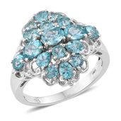 Madagascar Paraiba Apatite Platinum Over Sterling Silver Ring (Size 10.0) TGW 3.42 cts.