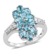 Madagascar Paraiba Apatite, Cambodian Zircon Platinum Over Sterling Silver Floral Elongated Ring (Size 10.0) TGW 3.05 cts.