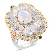 Ethiopian Welo Opal, Russian Diopside 14K YG and Platinum Over Sterling Silver Ring (Size 7.0) TGW 4.34 cts.