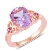 Rose De France Amethyst, Orissa Rhodolite Garnet 14K RG Over Sterling Silver Statement Ring (Size 9.0) TGW 3.30 cts.