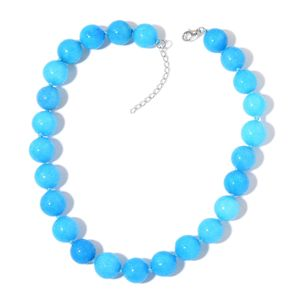 Enhanced Blue Quartzite Beads Silvertone Necklace (18 in) TGW 674.00 cts.