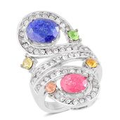 Multi Color Crystal, Crackled Simulated Fuschia and Blue Diamond Stainless Steel Bypass Ring (Size 7.0) TGW 3.80 cts.