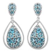 Madagascar Paraiba Apatite, Cambodian Zircon Platinum Over Sterling Silver Earrings TGW 4.16 cts.