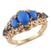 Ceruleite, Catalina Iolite 14K YG Over Sterling Silver Ring (Size 7.0) TGW 2.38 cts.