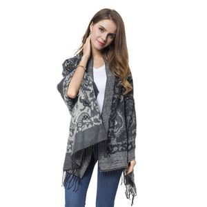 Pewter and White Paisley Pattern 60% Acrylic and 40% Polyester Reversible Shawl with Fringe (78x26 in)