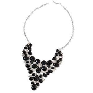 Black Howlite, White Austrian Crystal Silvertone Bib Necklace (22 in) TGW 525.00 cts.