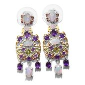 Karen's Fabulous Finds Ethiopian Welo Opal, Hebei Peridot, Amethyst 14K YG and Platinum Over Sterling Silver Chandelier Earrings TGW 3.88 cts.