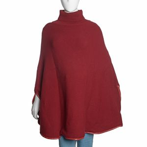 Burgundy Merino Wool Turtleneck Cape Poncho with Leather Trim and Arm Holes (One Size)