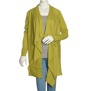 Green 100% Cotton Long Sleeve Open Waterfall Cardigan (S/M)