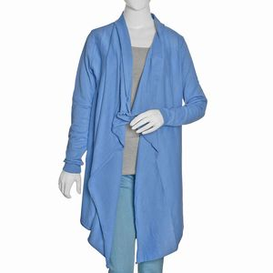 Blue 100% Cotton Long Sleeve Open Waterfall Cardigan (S/M)