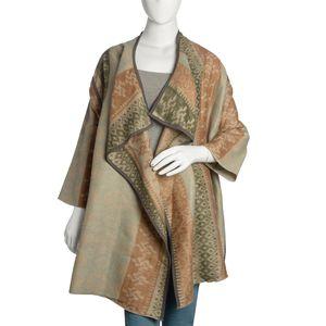 Camel and Tan 100% Acrylic Open Waterfall Cardigan Sweater (X/XL)
