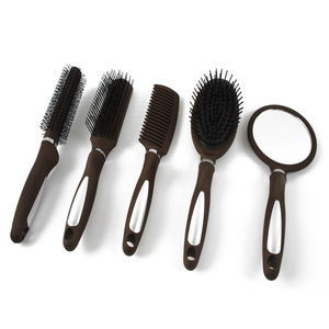 5 Pc Wet & Dry Brown Hair Brush Set (Includes: Mirror; Massage, Wide Tooth, Round Rolling and Fancy Combs)