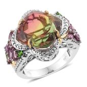 Rainbow Genesis Quartz, Multi Gemstone, Diamond Accent 14K YG and Platinum Over Sterling Silver Ring (Size 7.0) TGW 11.84 cts.
