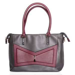 Gray and Burgundy Geometric Bowtie Faux Leather Shoulder Bag with Removable Strap (51 in) Standing Stud (12.5x5.5x9 in)