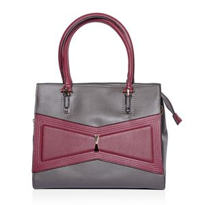 Gray and Burgundy Geometric Bowtie Faux Leather Tote Bag with Removable Strap (52 in) Standing Stud (12.5x6x10 in)