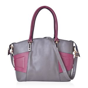 Grey and Burgundy Faux Leather Tote Bag (14.5x5.5x10.1 in)