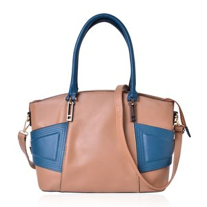 Camel and Blue Faux Leather Handbag (14x6x9.5 in) with Standing Studs and Removable Strap (50 in)