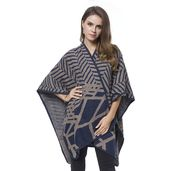 Navy and Brown Zigzag Pattern 45% Polyester, 25% Cotton, 25% Acrylic and 5% Wool Wrap Blanket (31.5x41.74 in)