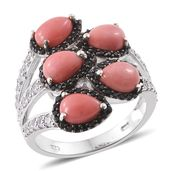 Oregon Peach Opal, Cambodian Zircon, Thai Black Spinel Black Rhodium & Platinum Over Sterling Silver Bypass Ring (Size 6.0) TGW 4.21 cts.