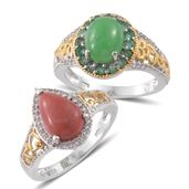 One Day TLV Burmese Green Jade, Oregon Peach Opal, Kagem Zambian Emerald, Cambodian Zircon 14K YG and Platinum Over Sterling Silver Set of 2 Ring (Size 8) TGW 6.76 cts.