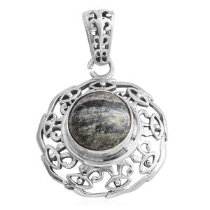 Artisan Crafted Green Zebra Jasper Sterling Silver Pendant without Chain TGW 3.25 cts.