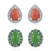 Set of 2 Burmese Green Jade, Oregon Peach Opal, Kagem Zambian Emerald, Cambodian Zircon Platinum Over Sterling Silver Halo Stud Earrings TGW 3.90 cts.