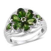 Karen's Fabulous Finds Russian Diopside Platinum Over Sterling Silver Ring (Size 10.0) TGW 3.45 cts.