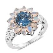 Karen's Fabulous Finds London Blue Topaz, Ethiopian Welo Opal Platinum Over Sterling Silver Flower Ring (Size 9.0) TGW 3.45 cts.
