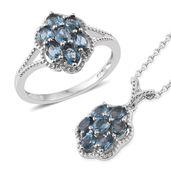 Karen's Fabulous Finds London Blue Topaz Platinum Over Sterling Silver Ring (Size 6) and Pendant With Chain (20 in) TGW 2.90 cts.
