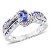 Premium AAA Tanzanite, Cambodian Zircon Platinum Over Sterling Silver Ring (Size 7.0) TGW 1.70 cts.