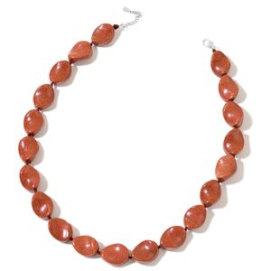 Goldstone Beads Sterling Silver Necklace (18 in) TGW 377.00 cts.