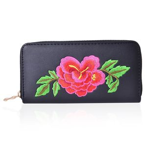 Black with Multi Color Flower Pattern Faux Leather Wallet (7.5x1x4 in)