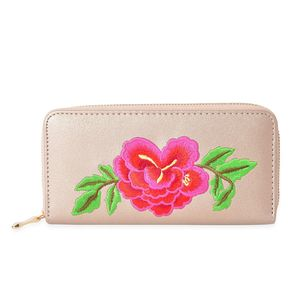 Golden with Multi Color Flower Pattern Faux Leather Wallet (7.5x1x4 in)
