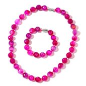 Fuschia Agate Enhanced Beads Silvertone Bracelet (7.50 in) and Necklace (18.00 In) TGW 537.50 cts.