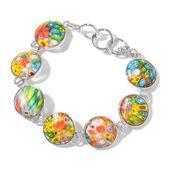 Murano Millefiori Glass Silvertone Bracelet (7.00 In) TGW 52.50 cts.