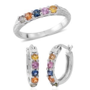 Year End Clearance Deal Multi Sapphire Sterling Silver 5 Stone Hoop Earrings and Ring with Engraved Band (Size 8) TGW 1.20 cts.