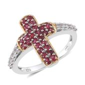 Cambodian Zircon, Burmese Red Spinel 14K YG and Platinum Over Sterling Silver Cross Ring (Size 8.0) TGW 1.08 cts.