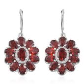 Mozambique Garnet, Cambodian Zircon Platinum Over Sterling Silver Flower Lever Back Earrings TGW 14.53 cts.